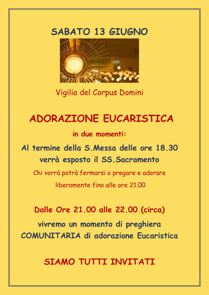 Adorazione Eucaristica sabato 13 giugno 2020